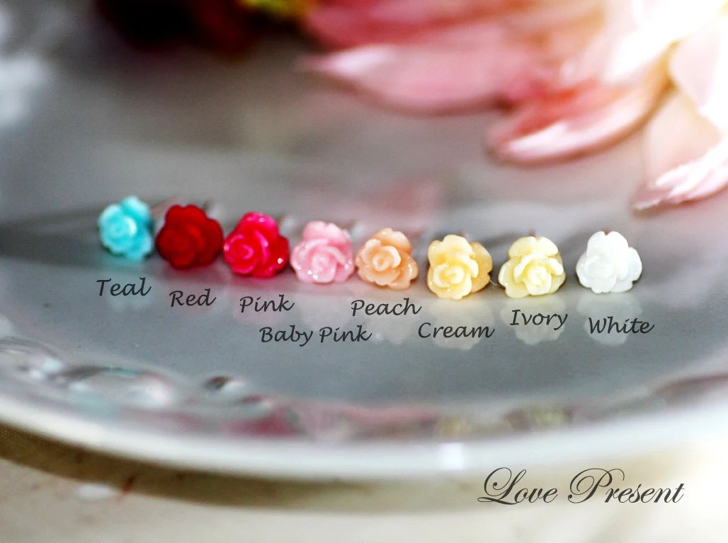 Cutie Sweet Teeny Tiny Rose Cartilage Stud Earrings Post - Small. Little. Mini. Petite Earrings - Choose your color - LoLoJewelryBox