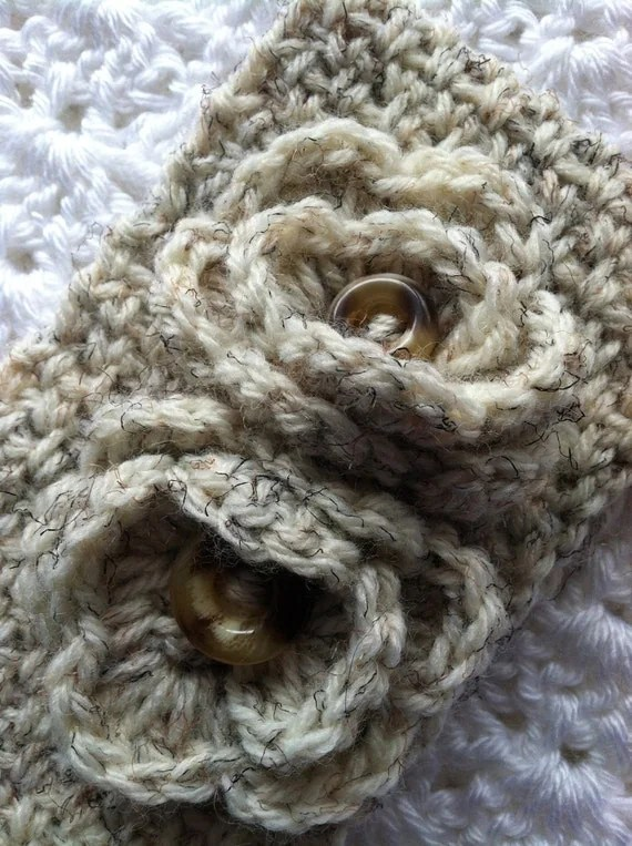 Crochet Women's or Child's Headwarmer, Brown and Tan, Crochet Headwarmer, Winter Hat, Accessories, Headwarmer with Flowers