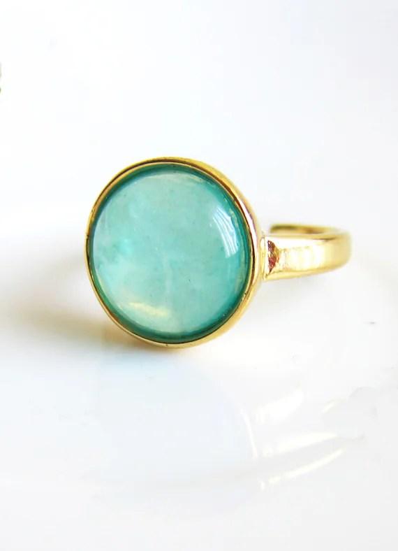 Items Similar To Turquoise Blue Mint Green Ring Aqua Moon