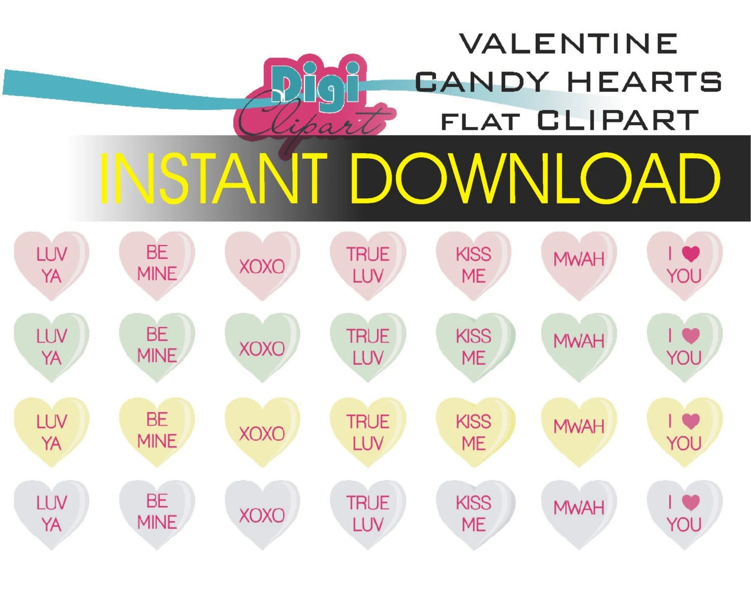 Valentine Candy With Sayings Traditional Clip Art Instant