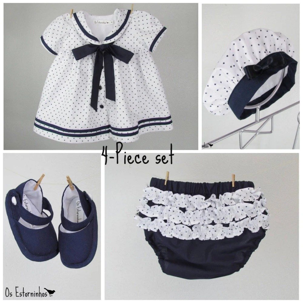 Baby Girl Outfit - Baby Girl sailor cotton dress with navy blue stars, baby diaper cover,  beret and baby booties - 4-piece set