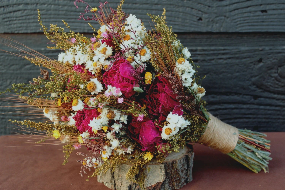Wedding Bouquet Dried Flower Bouquet Burgundy Peony Bouquet