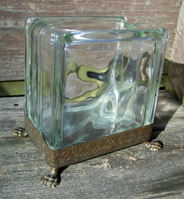 Vintage Glass Block Vase Ornate Metal Frame And Legs