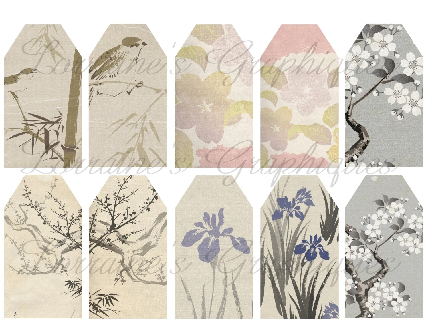 Antique Japanese Illustration T Tags Or Label Printables From Lorrainesgraphiques On Etsy Studio