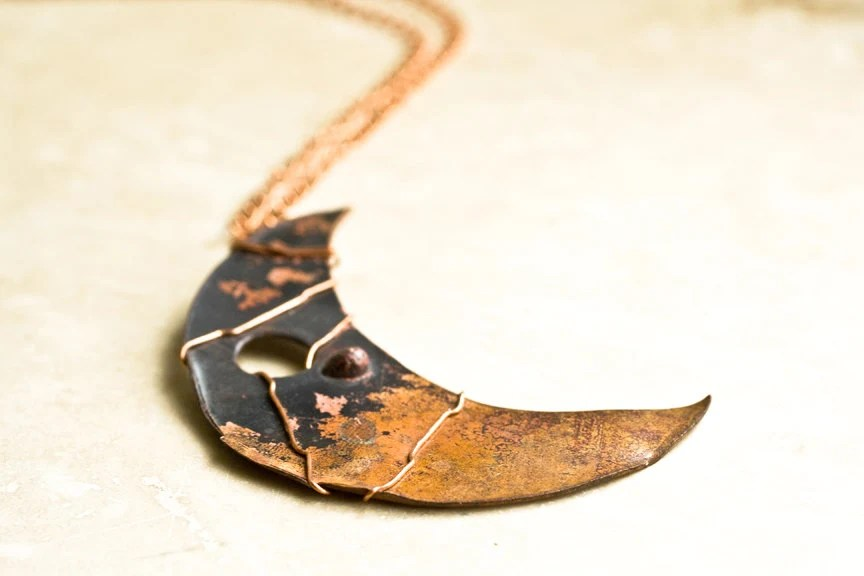 Steampunk Copper Moon Necklace / Upcycled Recycled Copper Pendant Necklace / Vintage Copper Half Moon Wire Wrapped Pendant - NostalgicWarehouse