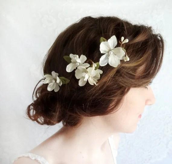 Off White Flower Hair Pins Bridal Hair Accessories By