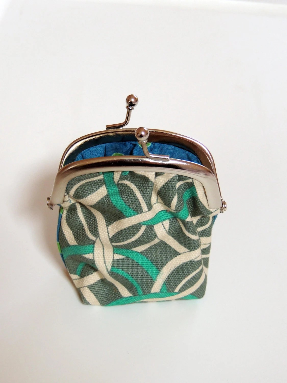 SALE - Geometric green and white change purse with metal frame - On sale - Free shipping - ASeasonInIndia