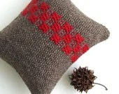 Handwoven Pincushion / Miniature Pillow - Swedish Weaving - Rosepath in Red and Brown Wool - VictoriaGertenbach