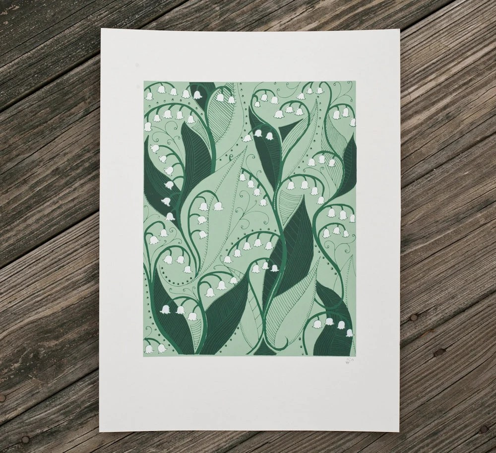 lily of the valley flower art print screenprint - exit343design