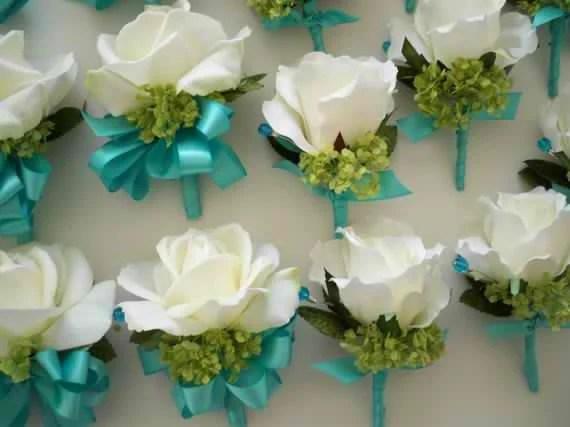 Realtouch Roses And Green Snowball Aqua Blue Wedding Bridal