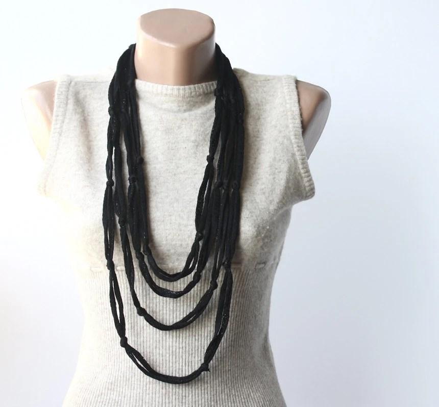 Black elegance - Knot necklace - summer night jewelry - fiber necklace - infinity scarf - violasboutique