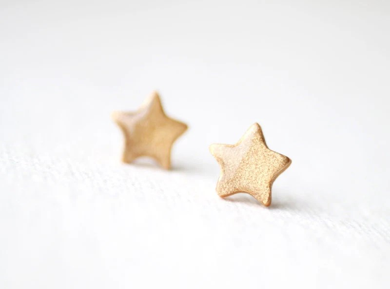 FREE WORLDWIDE SHIPPING - Pale Gold Glitter Stars Stud Earrings - smafactory
