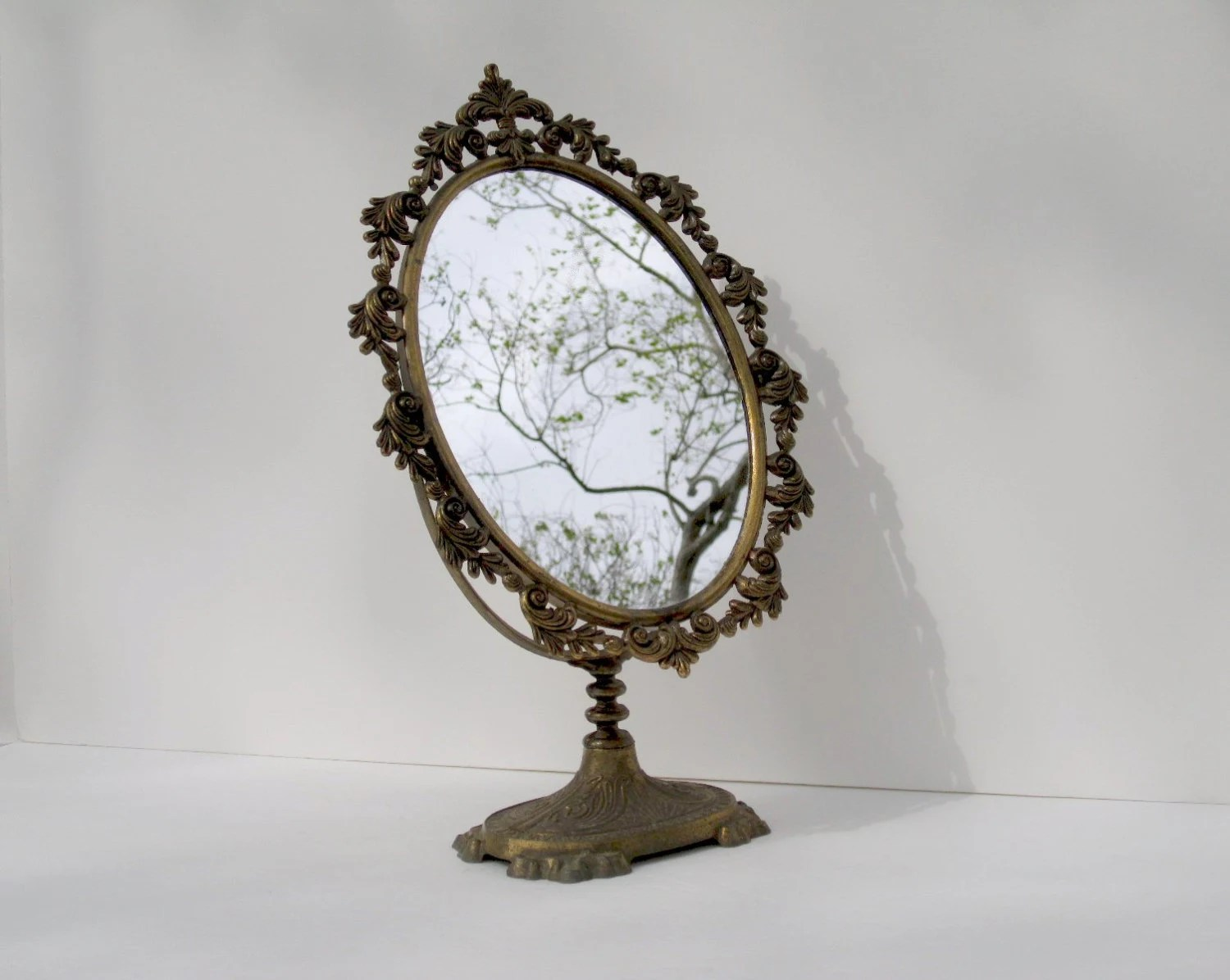 Vanity Mirror Gold Toned Standing Magnifying Mirror