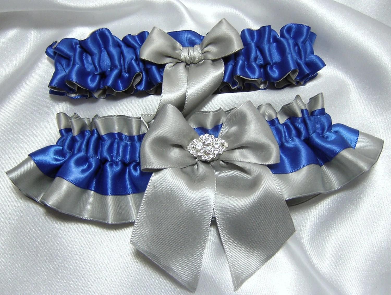 Horizon / Royal Blue Satin Wedding Garter Set By