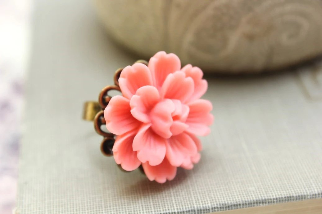 Coral Flower Ring, Large Floral Cocktail Ring Pink Peach Daisy Flower Jewellery, Adjustable, Spring Garden Wedding