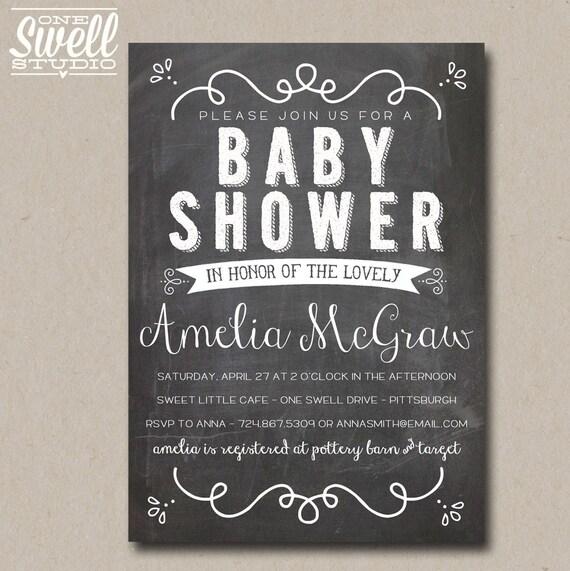 Vintage Hand-Lettering Inspired Chalkboard or Kraft DIY Printable Baby or Bridal Shower Invitation 5x7 format - custom text