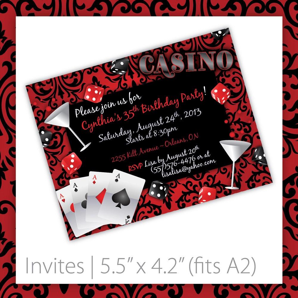 Casino Party Invitations Casino Blush By BlackCherryPrintable