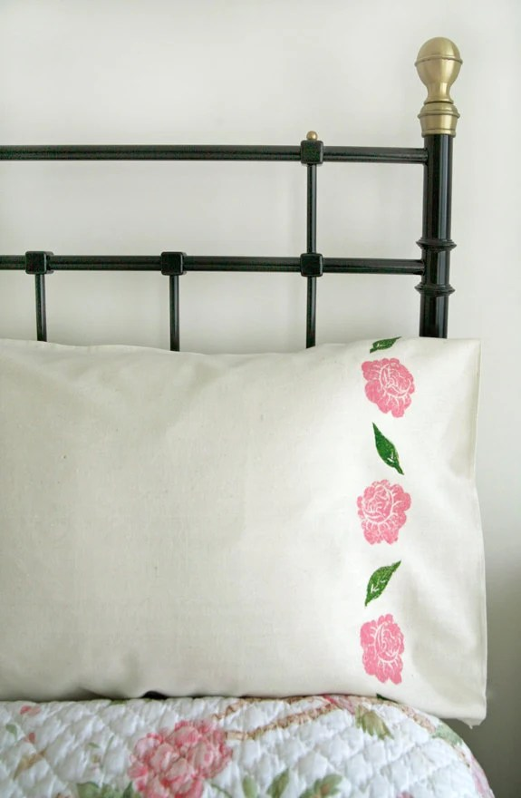 Rose hand printed unbleached cotton pillow case set - pink flowers, country, rustic, calico bed linen - Corydora