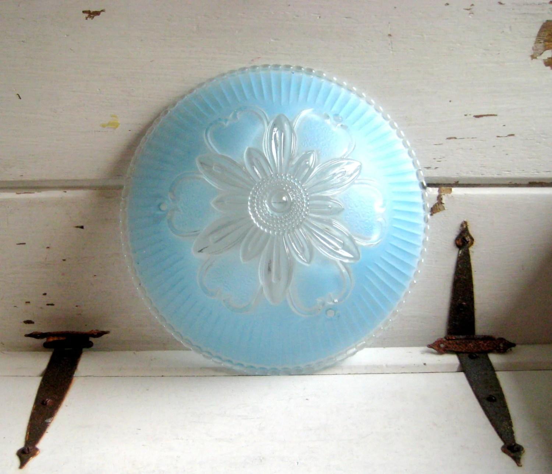 Vintage glass light cover, turquoise blue ceiling fixture cover, floral designed cottage, cabin, bedroom light cover - jensdreamvintage
