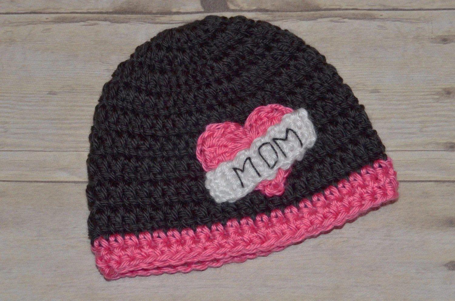 Custom Crochet Valentine I Love Mom Hat for Babies With Pink Pick Your Size