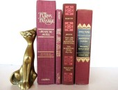Vintage Burgandy Four Book Collection / Book Bundle / Book Decor / Instant Library - redladybugz