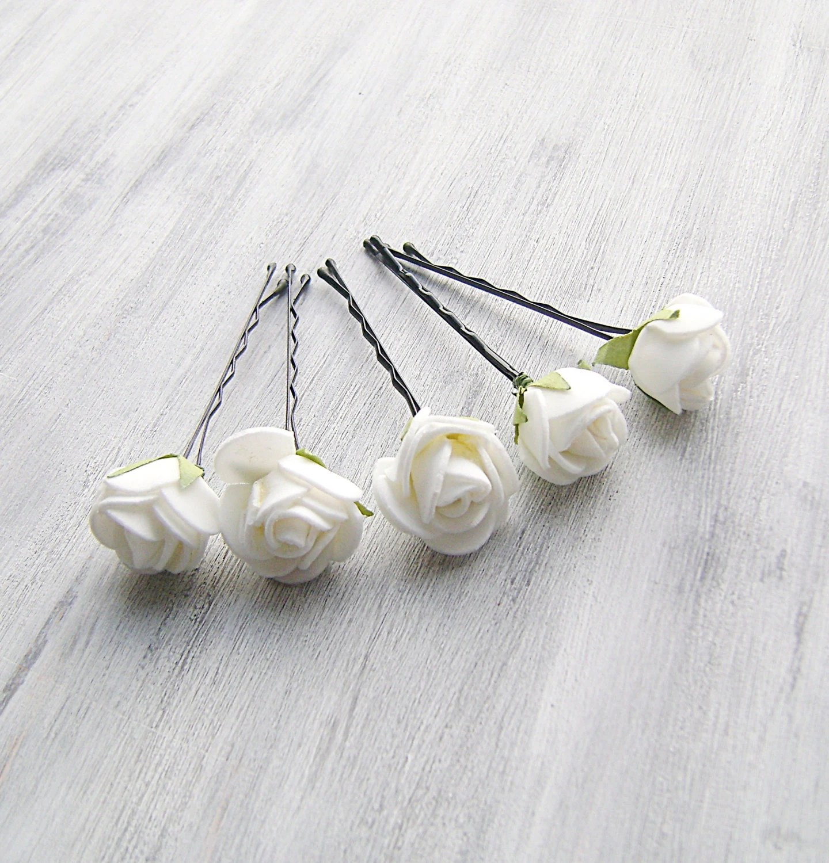 White Flowers Bobby Pins Roses Bridal Hair Pins Woodland