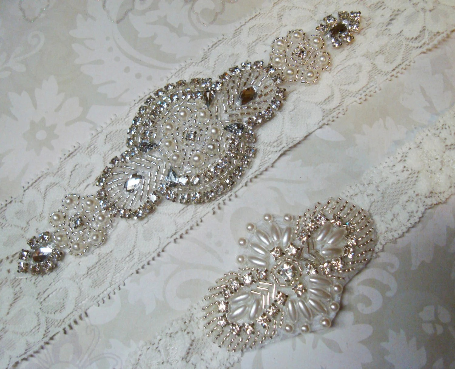 Wedding Garter Set Vintage Ivory Lace Garter With By