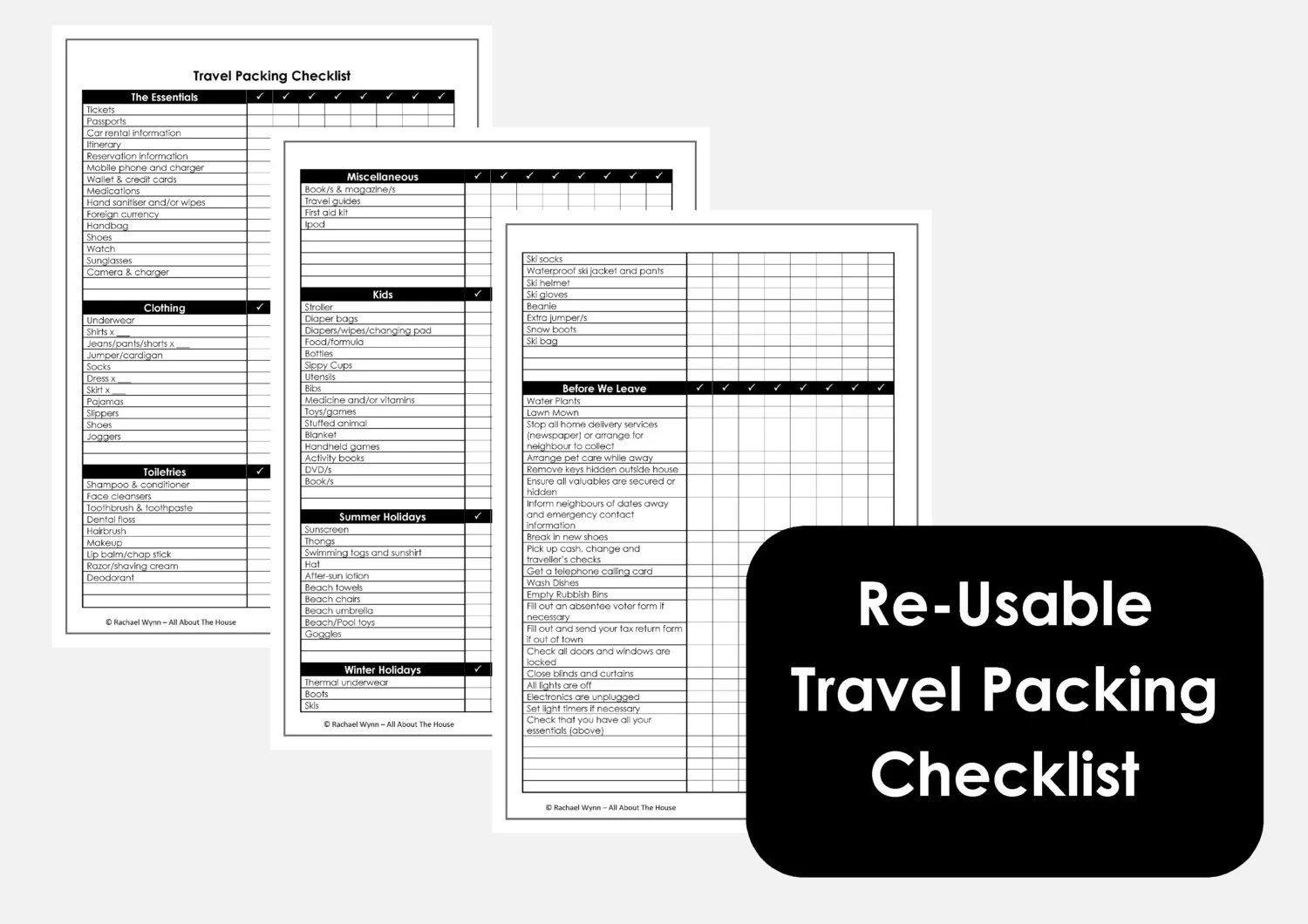 Reusable Travel Packing Checklist 3 Sheets Home