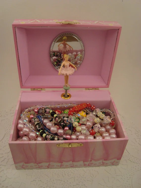 Dancing Ballerina Music Box Filled With Vintage Jewelry