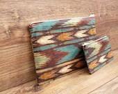 Kiva - Chevron Arrow Zipper Pouch Gift set - Cosmetics or makeup, travel, wallet -  Native American, Southwestern pattern - WillowAndSparrow