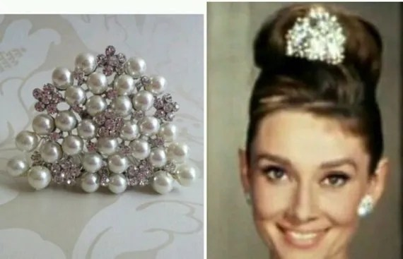 Audrey Hepburn Style Replica Tiara Diamante Crystal Ivory