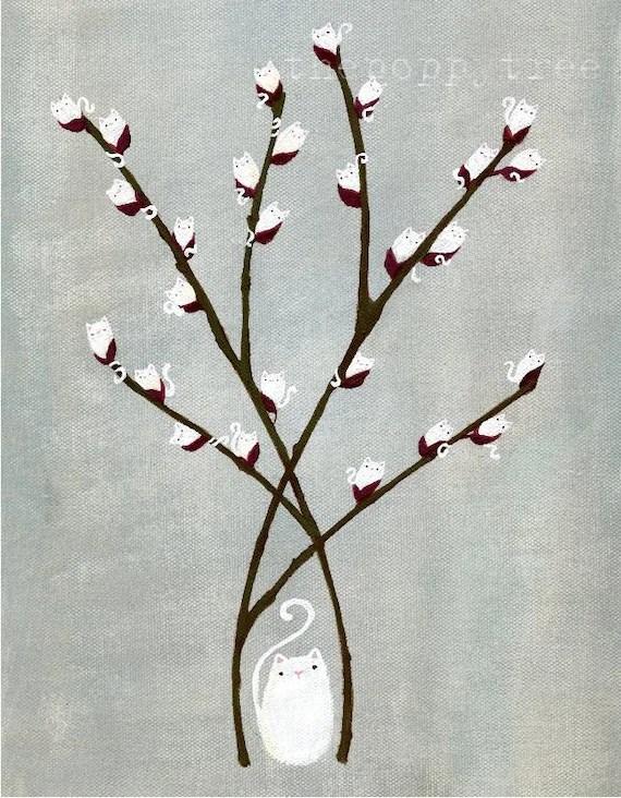 Kitten Print Cat Willow Whimsical White Kitty Wall