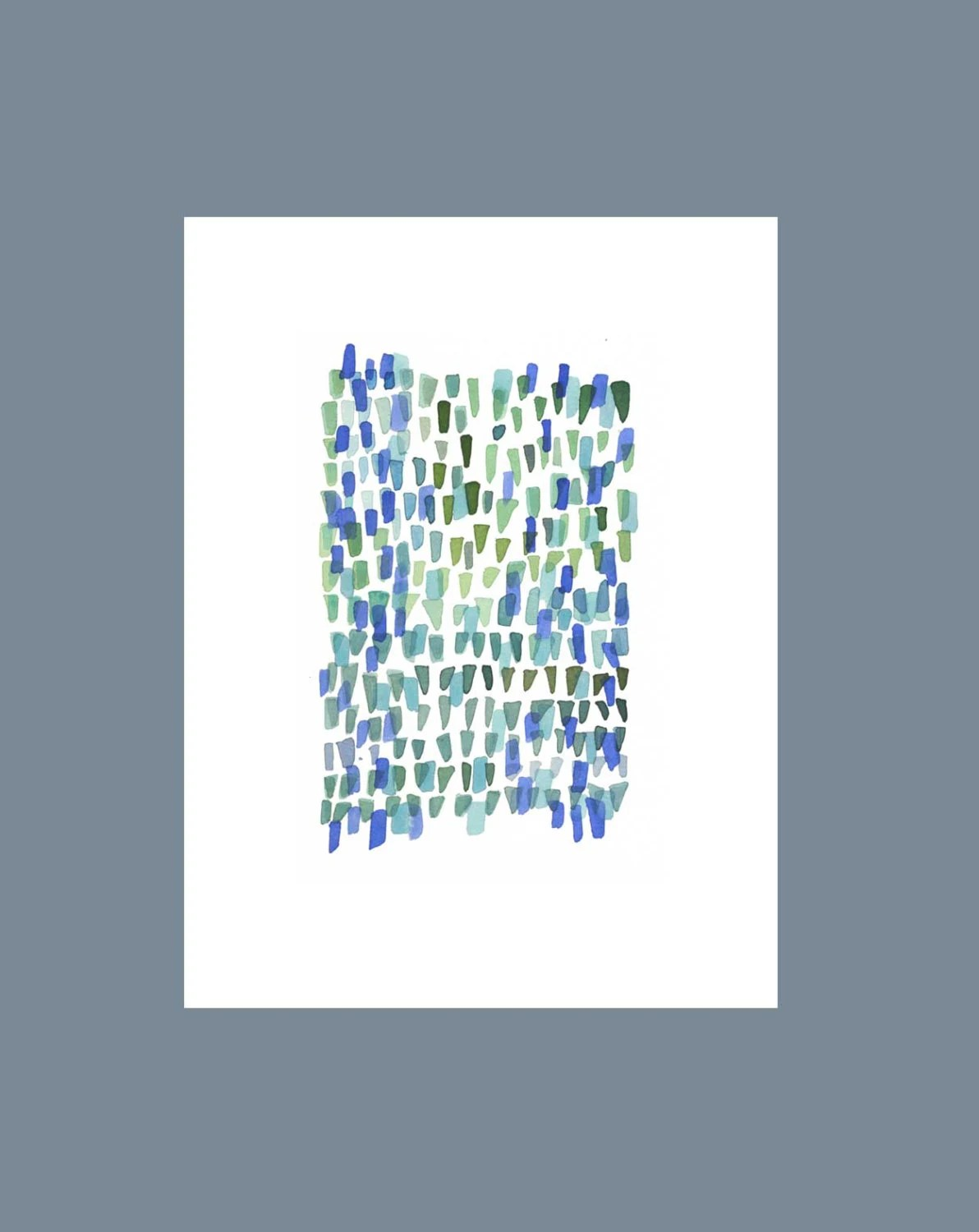 "Seaglass pieces Abstract Watercolor painting blue green white - Nautical Home decor 9 x 12"" - LouiseArtStudio"