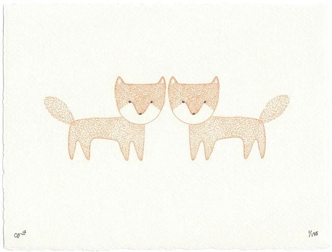 Two Foxes - Fox Print - clairehartigan