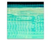 photography, art, pool, minimalist, retro, beach, ocean, teal, aqua, sky, turquoise, motel, vintage, water - summer swim, 8x8 photograph - SeptemberWren