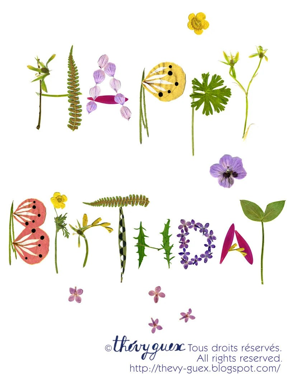 Happy Birthday Herbarium Botanical Flower By Thevysherbarium