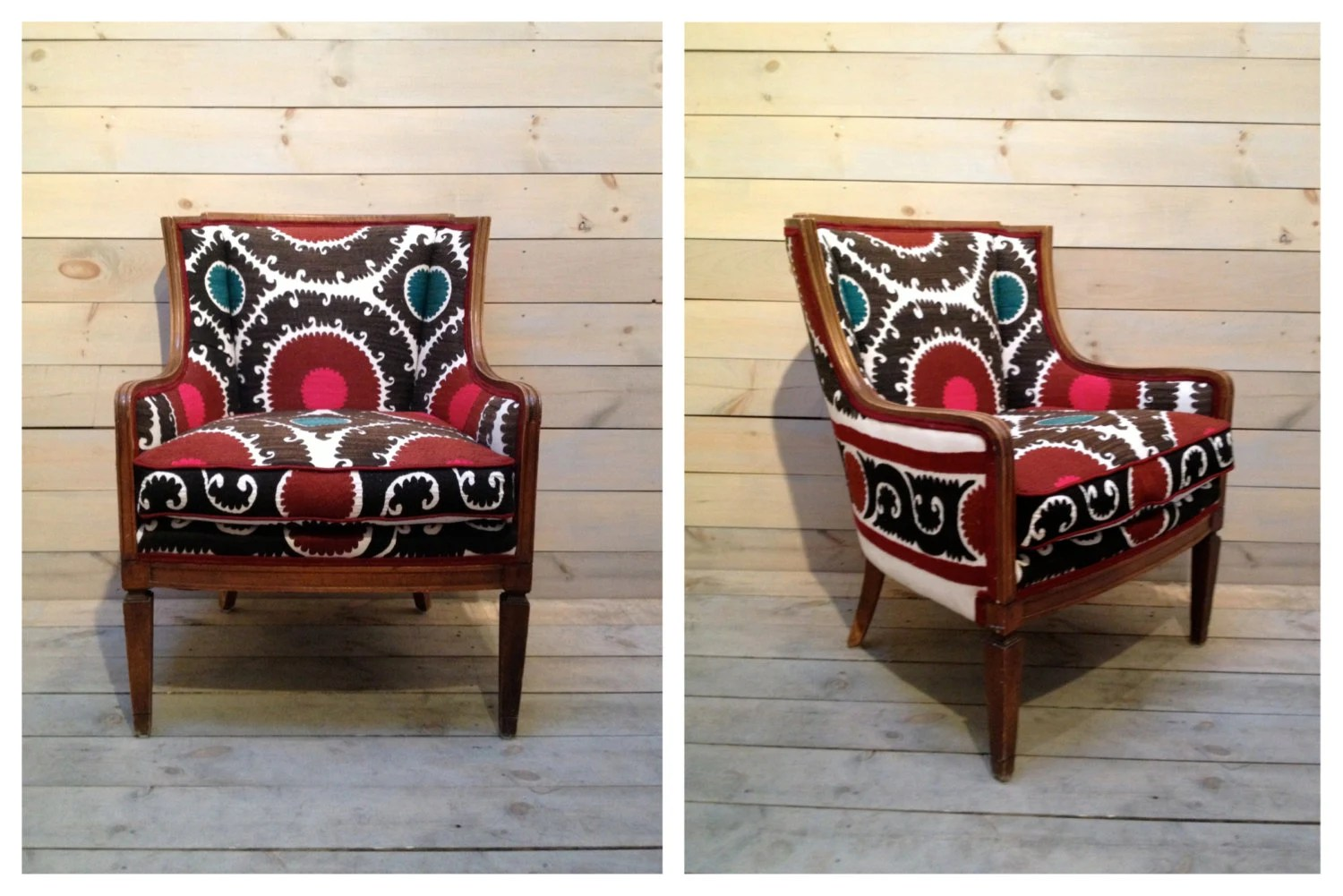 Vintage Suzani-upholstered comfy club chair