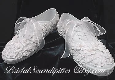 Bridal Bride Tennis Shoes Sneakers Satin And Pearl Beaded