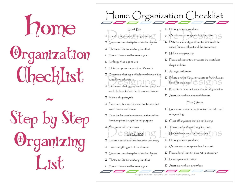 Home Organization Checklist Printable Basic By
