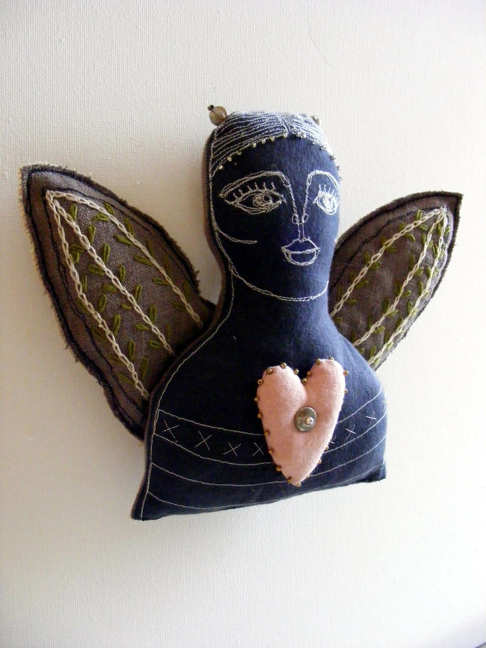 Angel - handmade, embroidered and beaded