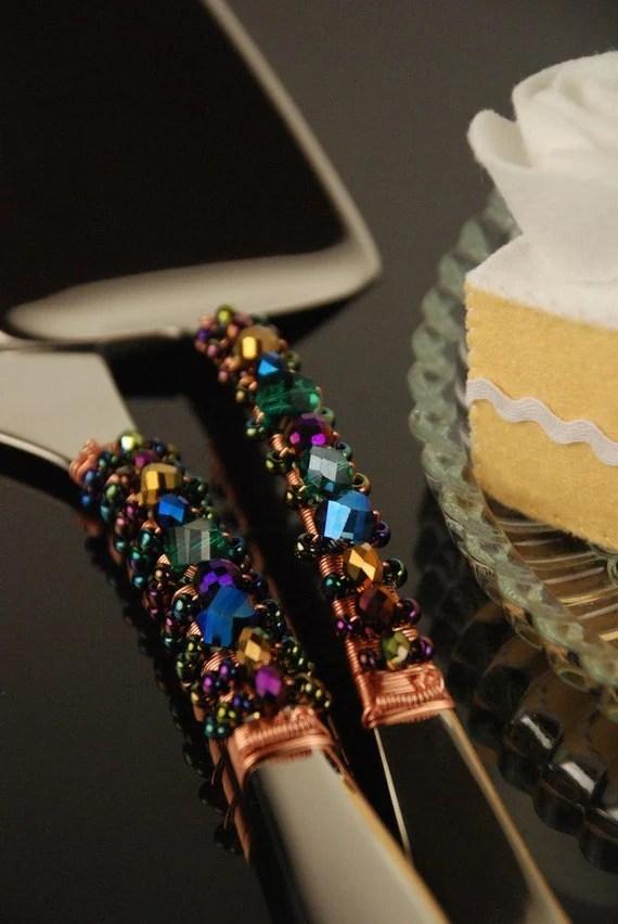 Peacock Wedding Cake Cutting Set Cake Knife Server Jewel
