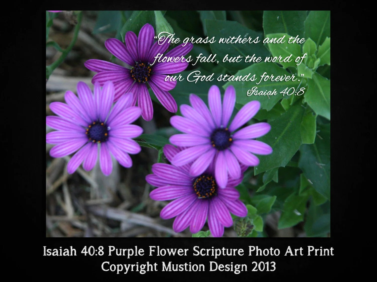Items Similar To Isaiah 40 8 Purple Flower Scripture