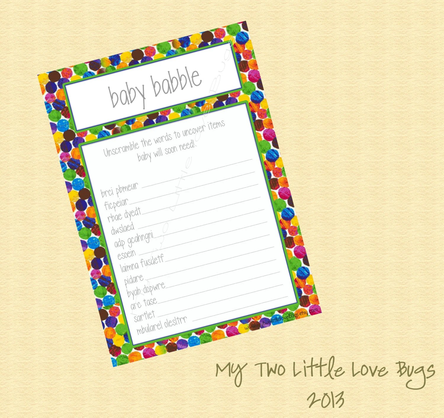 Instant Download Baby Babble Word Scramble By