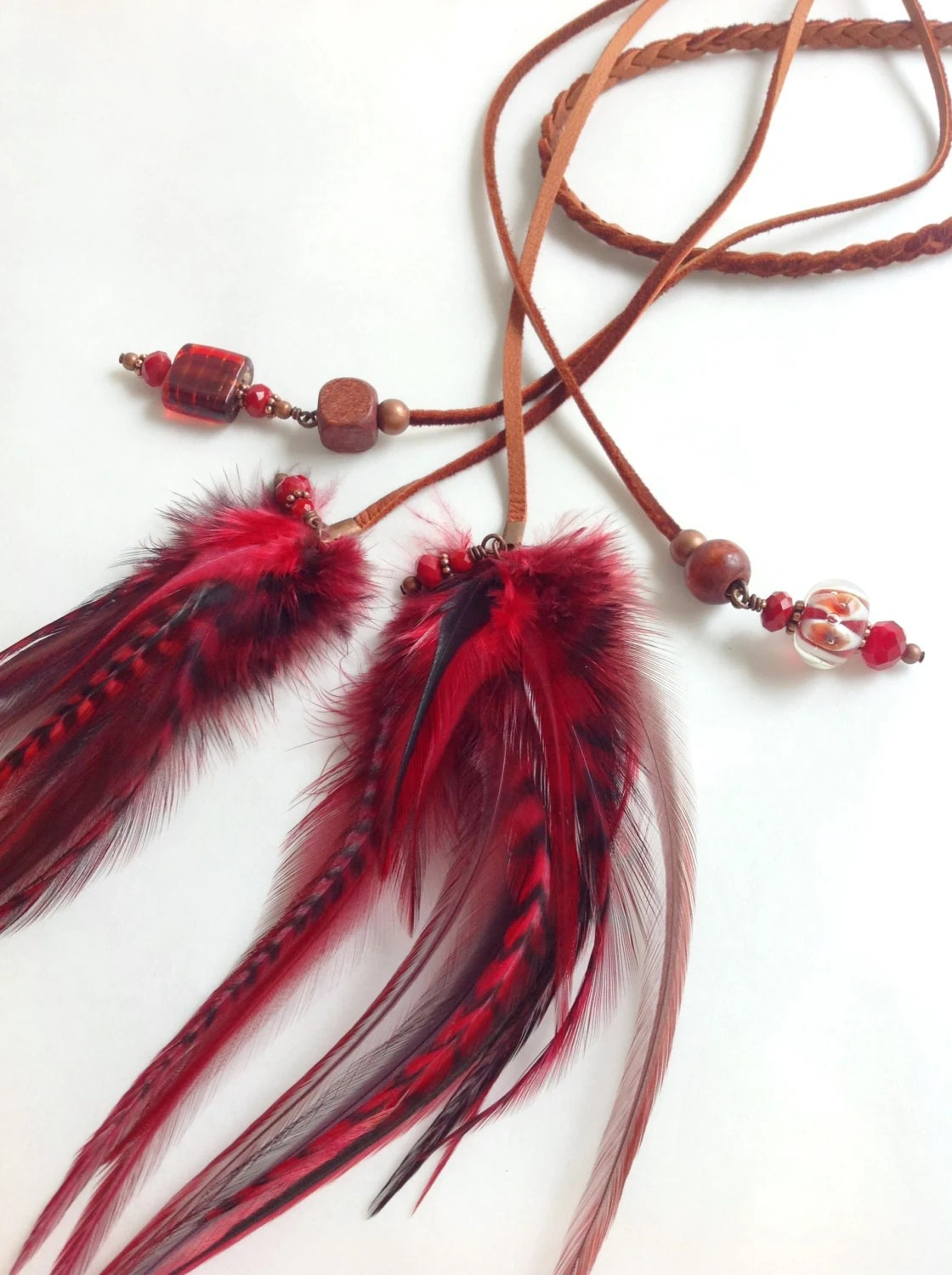 Red Hot braided leather feather headband with deep crimson feathers and red beads - bdii