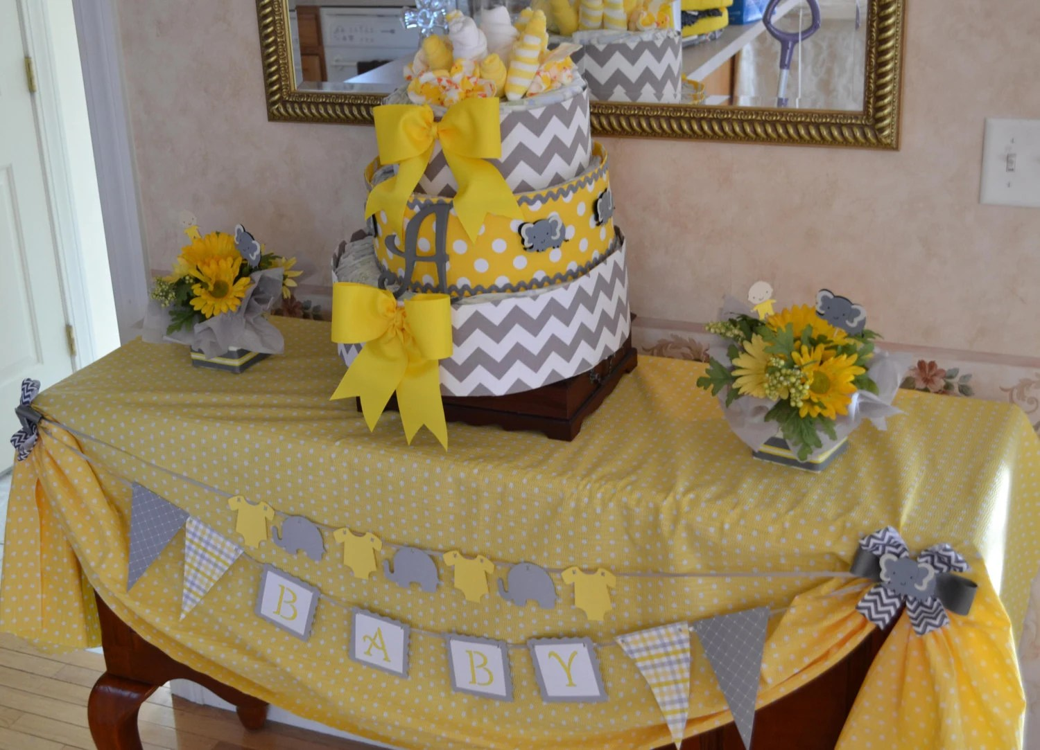 Yellow Gray Elephant Baby Shower