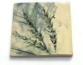wheat stalk impressed decorative ceramic tile - yaelastudio