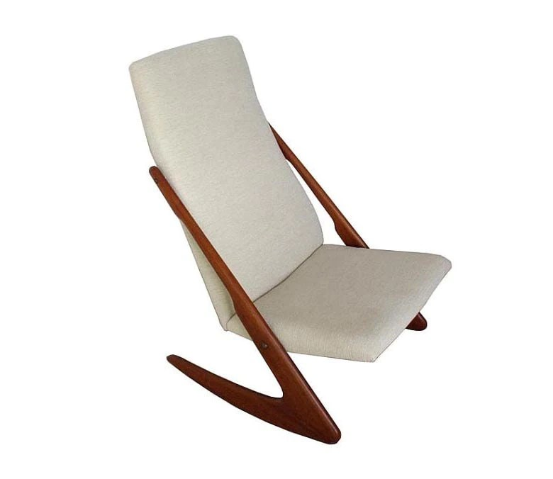 Elegant Danish Teak Boomerang Rocking Chair By Mogens Kold