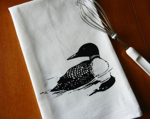 Flour Sack Dish Towel, Loon Tea Towel, Screen Printed Common Loon Bird - LyndiArt