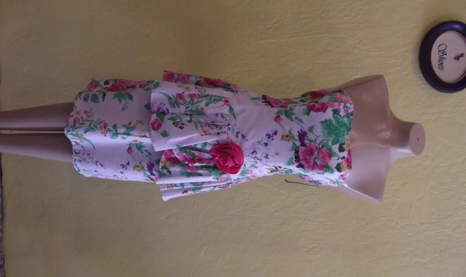 Strapless 1980s Floral Garden Party Dress Laura Ashley Style