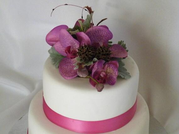 Rustic Floral Wedding Cake Topper Silk Flower Purple